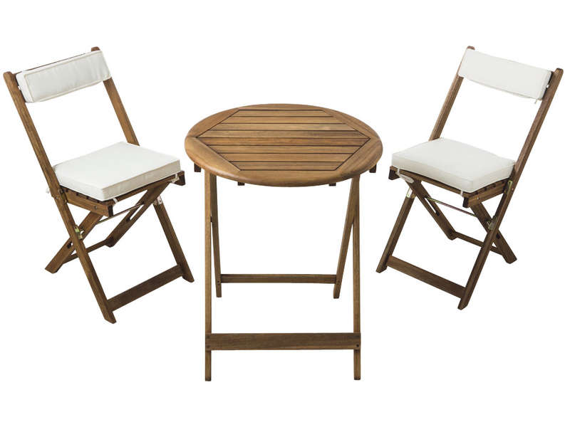 Ensemble table 2 chaises pliantes coussins gabby for Table de jardin conforama