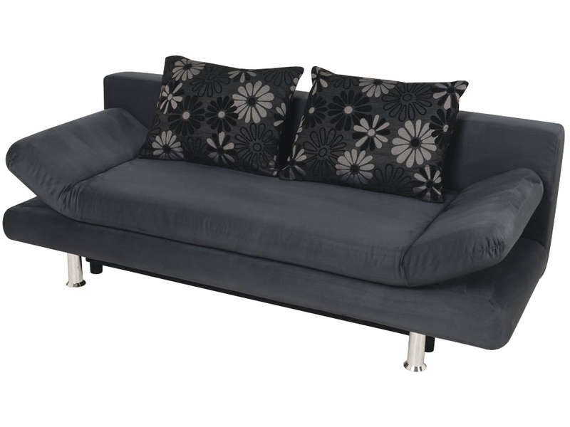 Canap convertible 3 places flamingo coloris gris et cr me vente de banquet - Banquette convertible conforama ...