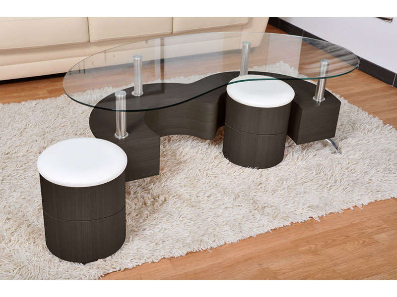 Table basse avec plateau en verre 2 poufs orfee coloris for Table de salon escamotable