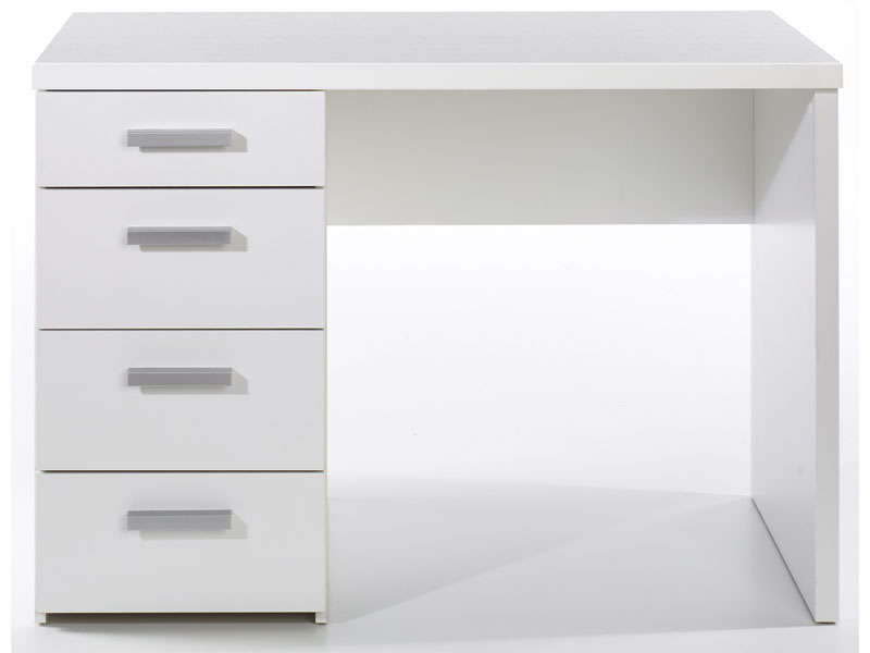 bureau 4 tiroirs tilio coloris blanc vente de bureau. Black Bedroom Furniture Sets. Home Design Ideas