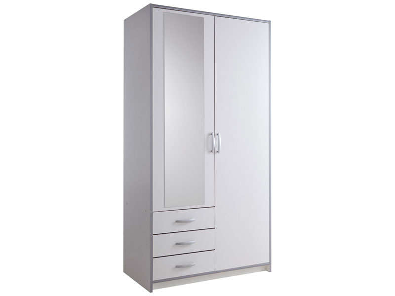 armoire 2 portes 3 tiroirs mars coloris blanc gris vente. Black Bedroom Furniture Sets. Home Design Ideas