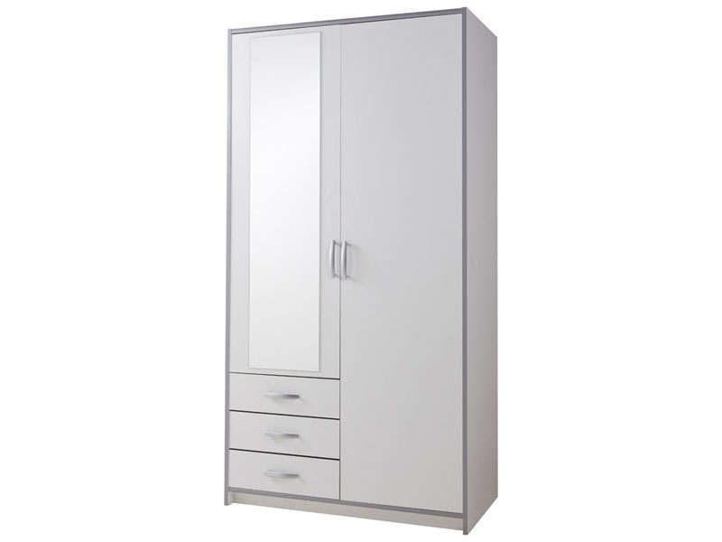 armoire 2 portes 3 tiroirs mars coloris blanc gris vente de armoire conforama. Black Bedroom Furniture Sets. Home Design Ideas