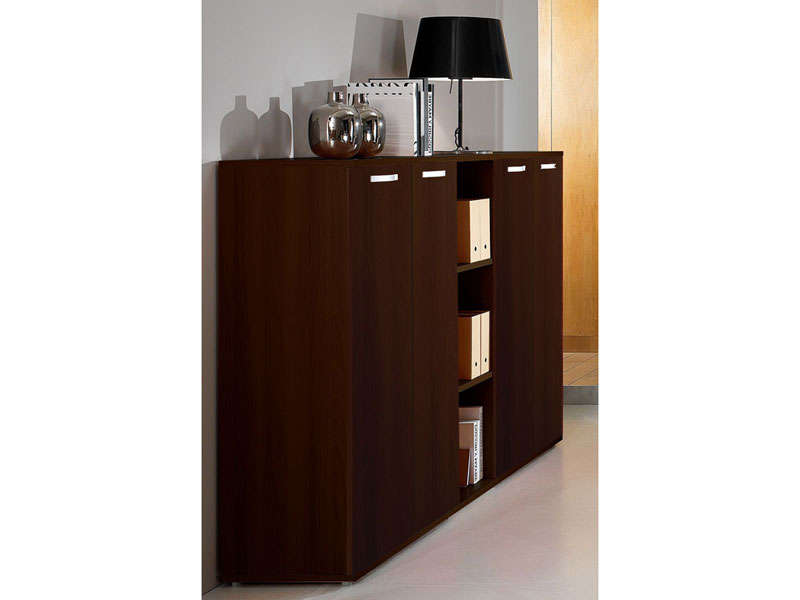 rangement bas 4 portes valew coloris weng vente de bureau composer conforama. Black Bedroom Furniture Sets. Home Design Ideas