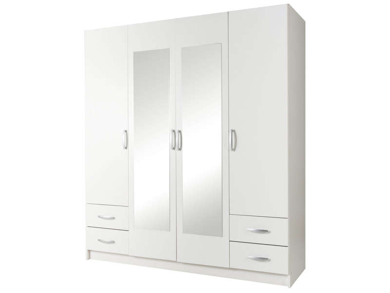 armoire 4 portes 4 tiroirs spot coloris blanc vente de armoire conforama. Black Bedroom Furniture Sets. Home Design Ideas