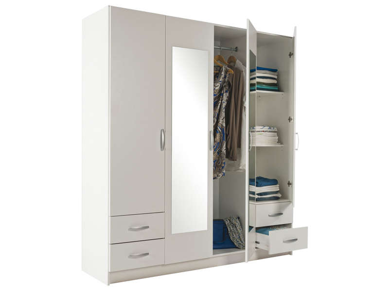 good conforama armoire 4 portes 9 armoire 4 portes battantes harlington coloris blanc vente. Black Bedroom Furniture Sets. Home Design Ideas