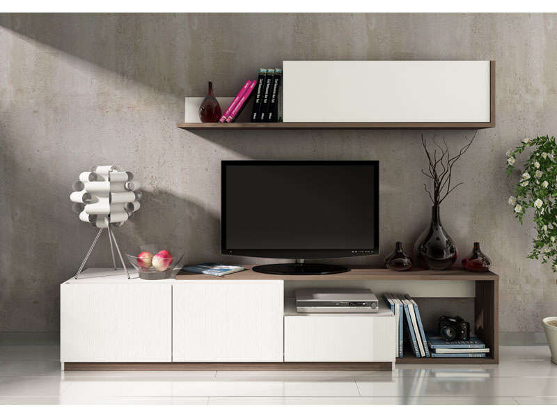 Meuble tv 240 cm finition m lamin otawa coloris pin fonc for Meuble tv mural 240 cm blanc gris adhara