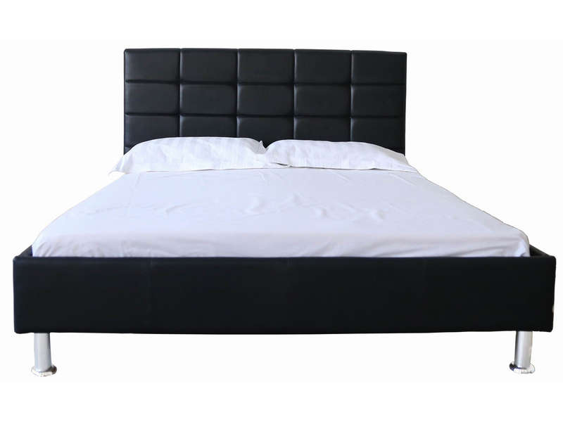 lit 160x200 cm brooklyn coloris noir vente de lit adulte conforama. Black Bedroom Furniture Sets. Home Design Ideas