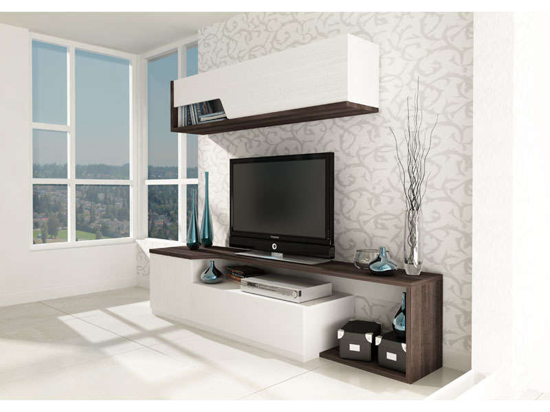 meubles tv 2 portes 1 tiroir tokk coloris anthracite et blanc vente de meuble tv conforama. Black Bedroom Furniture Sets. Home Design Ideas