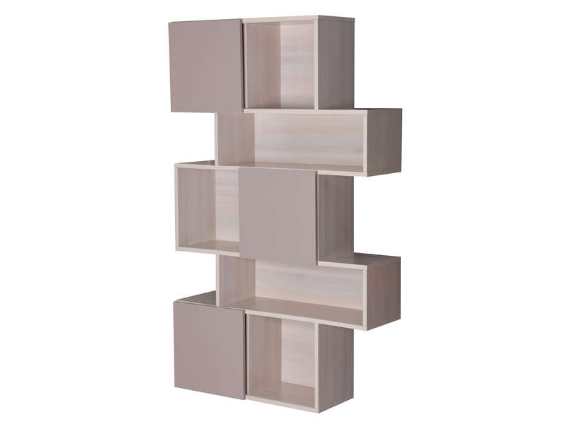 S paration blush coloris acacia et taupe vente de for Bibliotheque meuble conforama