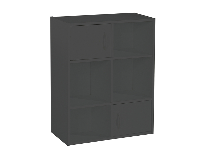 Biblioth que modulable 6 cases modulo 6 escalier coloris noir promodispo - Bibliotheque 6 cases ...