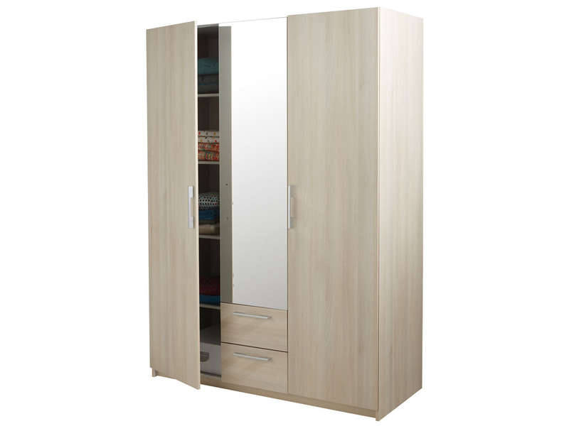armoire 3 portes 2 tiroirs saturne coloris acacia vente de armoire conforama. Black Bedroom Furniture Sets. Home Design Ideas