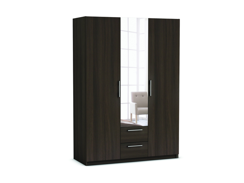 armoire 3 portes 2 tiroirs saturne coloris ch ne vulcano. Black Bedroom Furniture Sets. Home Design Ideas
