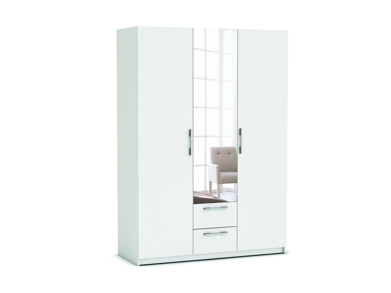 armoire 3 portes 2 tiroirs saturne coloris blanc vente de armoire conforama. Black Bedroom Furniture Sets. Home Design Ideas