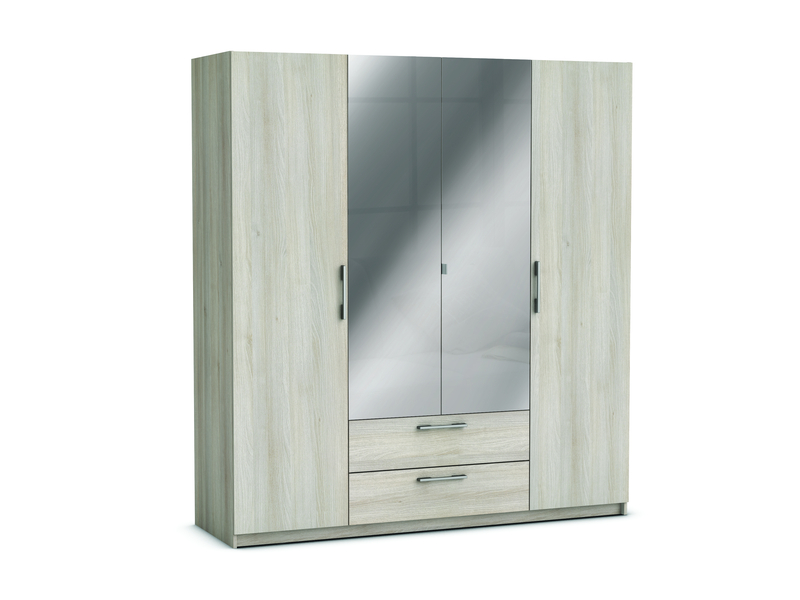 armoire 4 portes 2 tiroirs jupiter coloris acacia vente. Black Bedroom Furniture Sets. Home Design Ideas