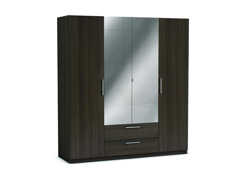 armoire 4 portes 2 tiroirs jupiter coloris ch ne vulcano. Black Bedroom Furniture Sets. Home Design Ideas