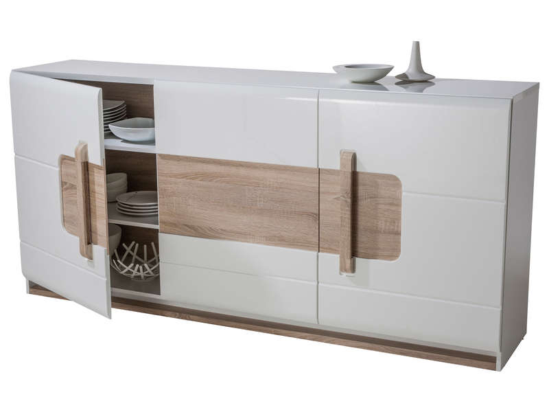 Buffet 3 portes levi coloris bois blanc vente de buffet for Salon salle a manger conforama