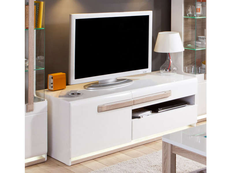 meuble tv 140 1 cm levi coloris bois blanc vente de meuble tv conforama. Black Bedroom Furniture Sets. Home Design Ideas