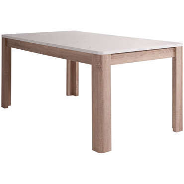 table rectangulaire avec allonge 206 5 cm max levi coloris bois blanc vente de table de. Black Bedroom Furniture Sets. Home Design Ideas