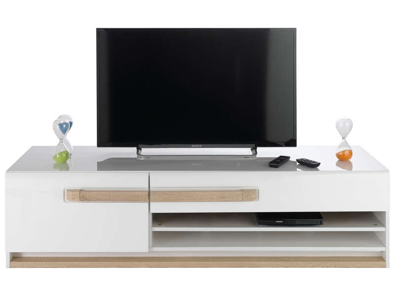 Banc tv 160 1 cm finition laqu levi chez conforama for Tv 140 cm conforama