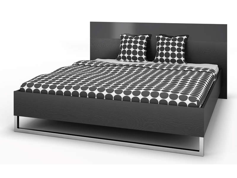 lit 140x200 cm t te de lit style coloris noir vente de. Black Bedroom Furniture Sets. Home Design Ideas