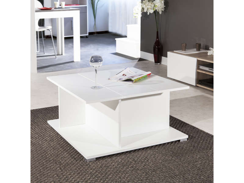 table basse bar avec abattant et rangement int rieur naxos coloris blanc vente de table basse. Black Bedroom Furniture Sets. Home Design Ideas