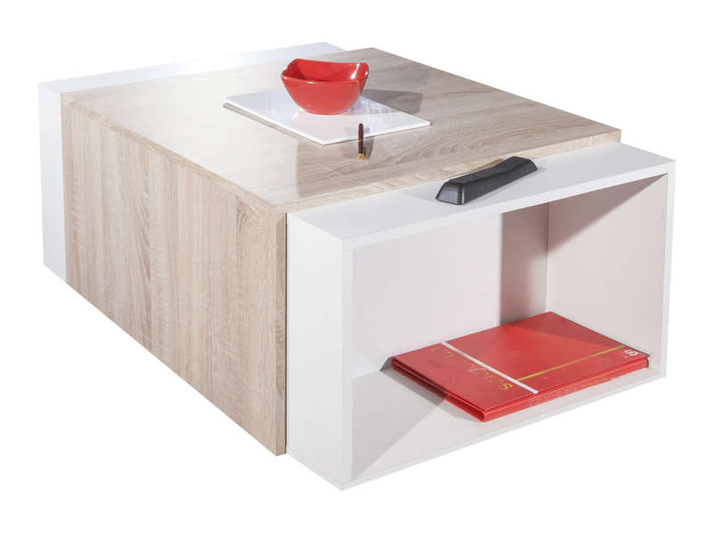 Table basse bar avec abattant et rangement int rieur ios coloris ch ne naturel blanc vente de for Petit bar de salon