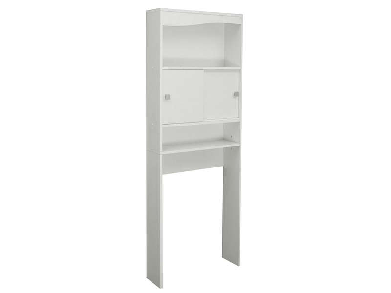 Meuble de rangement wc machine laver eos coloris blanc for Meuble machine a laver
