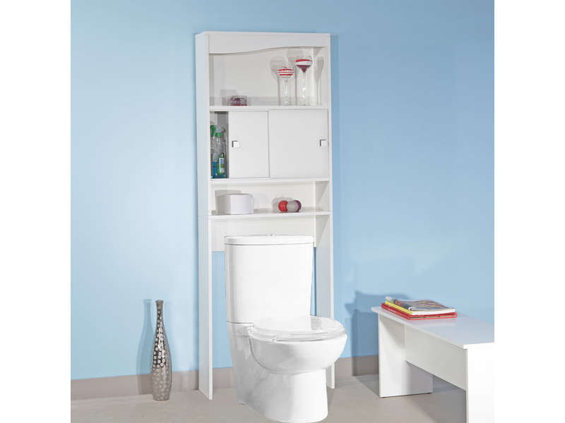 Meuble de rangement wc machine laver eos coloris blanc for Meuble wc but