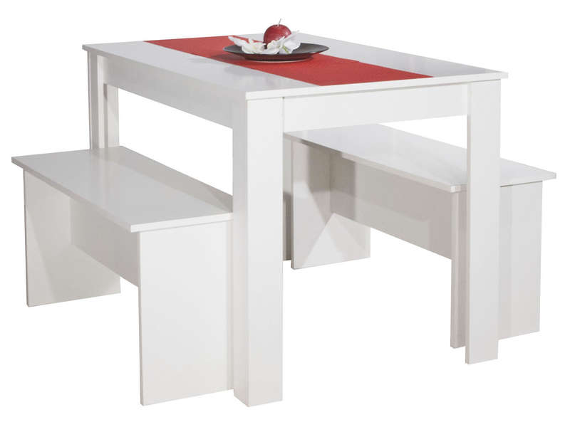 Ensemble 2 bancs table paros coloris blanc vente de for Ensemble table et chaise de cuisine blanc