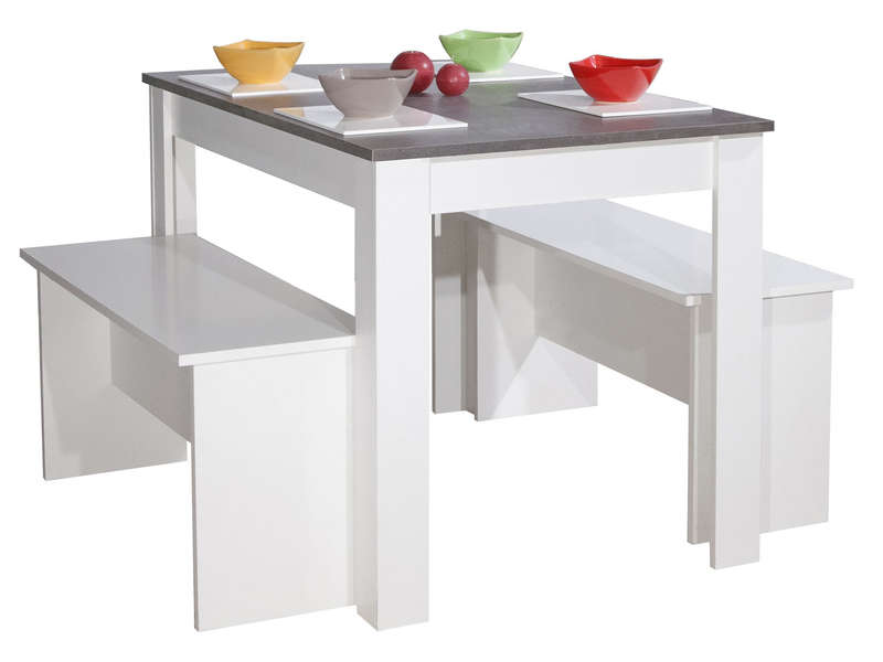 Table 110x70 Cm 2 Bancs Paros Coloris Blanc Et Beton Vente De