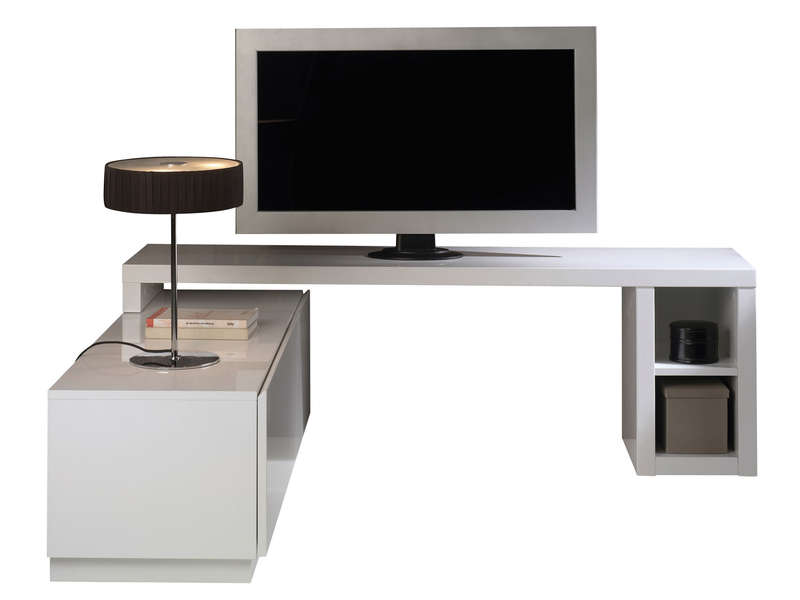 Meuble TV modulable -> Meuble Tv DAngle Blanc Conforama