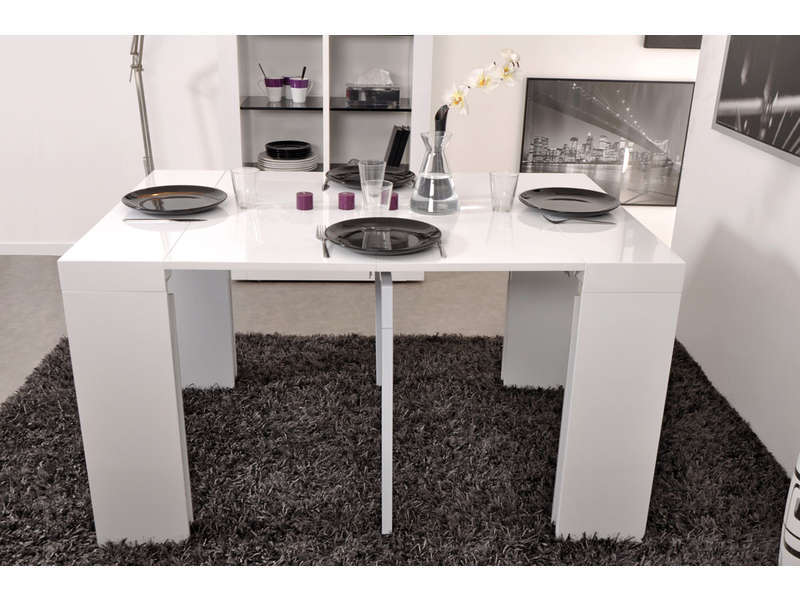 console extensible blanc laqu conforama table de lit. Black Bedroom Furniture Sets. Home Design Ideas