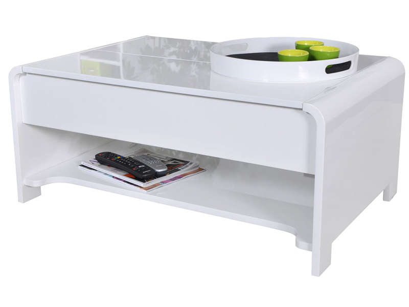 table basse rectangulaire avec plateau relevable duna coloris blanc chez conforama. Black Bedroom Furniture Sets. Home Design Ideas