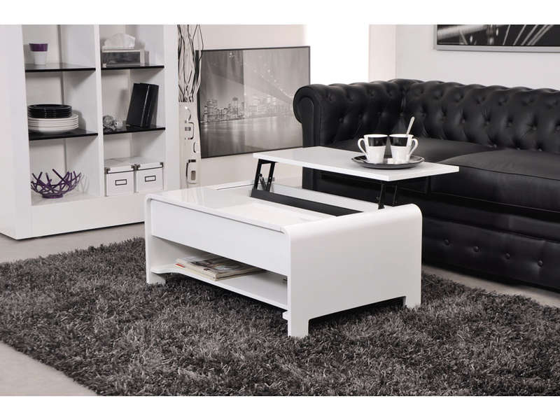 table basse rectangulaire avec plateau relevable duna coloris blanc vente de table basse. Black Bedroom Furniture Sets. Home Design Ideas