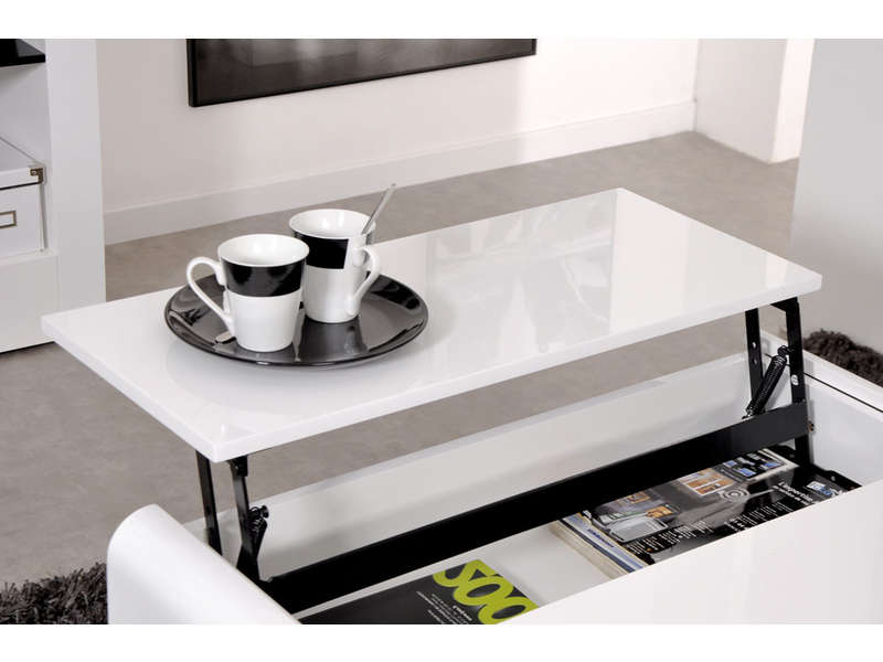 Table basse rectangulaire avec plateau relevable duna - Table basse relevable extensible conforama ...
