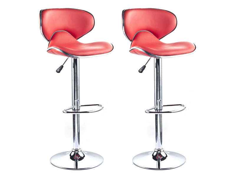 Lot de 2 tabourets de bar - Tabourets de bar rouge ...