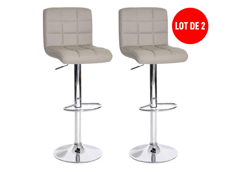 lot de 2 tabourets de bar r glable assise rotative nala coloris taupe vente de chaise de. Black Bedroom Furniture Sets. Home Design Ideas