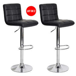 Lot de 2 tabourets de bar réglable avec assise rotative