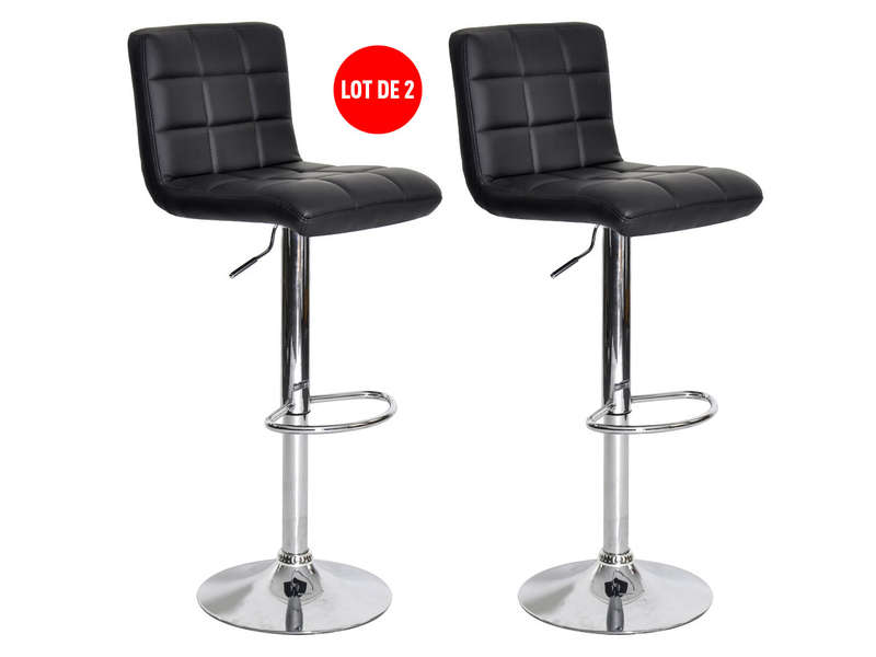lot de 2 tabourets de bar r glable avec assise rotative nala coloris noir vente de chaise de. Black Bedroom Furniture Sets. Home Design Ideas