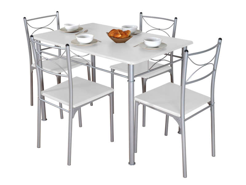 Ensemble Table Rectangulaire + 4 Chaises TUTI Coloris Blanc/gris   Vente De  Ensemble Table Et Chaise   Conforama Conception Impressionnante