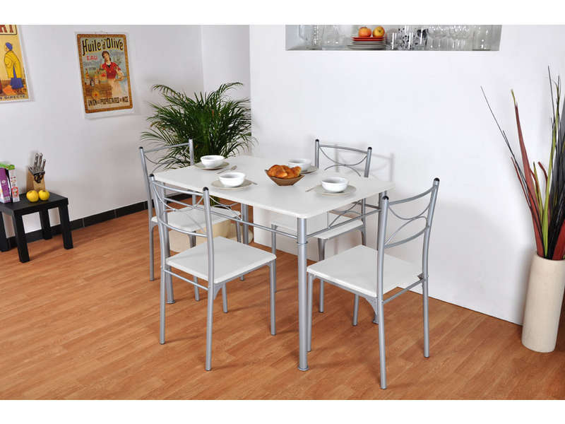 Ensemble table rectangulaire 4 chaises tuti coloris for Table cuisine conforama