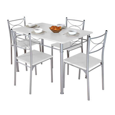 Ensemble Table Rectangulaire 4 Chaises TUTI Coloris Blanc Gris