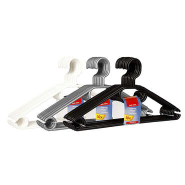 Cintres plastiques X 10 avec tête pivotante CLEAN