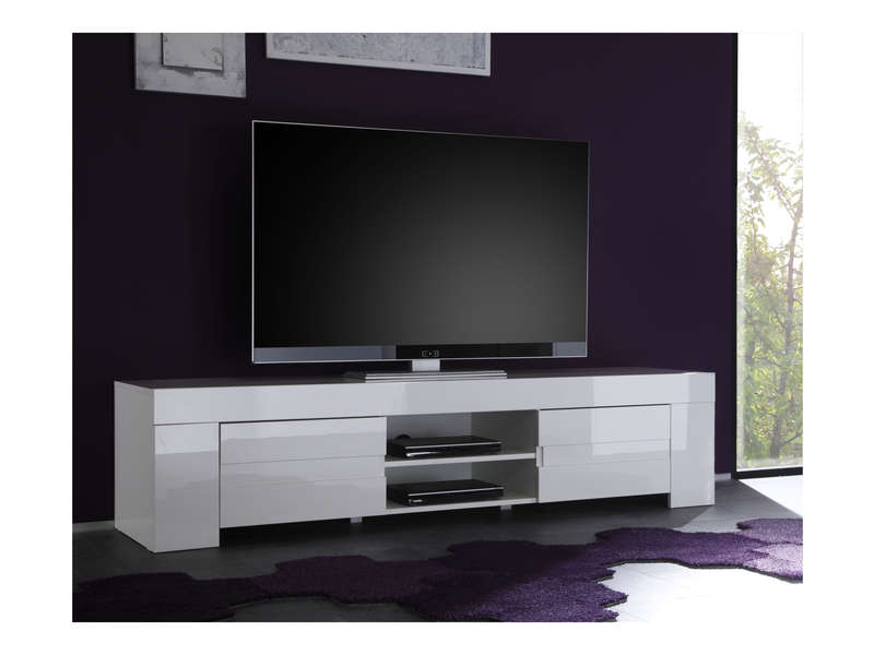 Meuble tv 190 cm finition laqu eos coloris blanc vente for Meuble laque blanc conforama