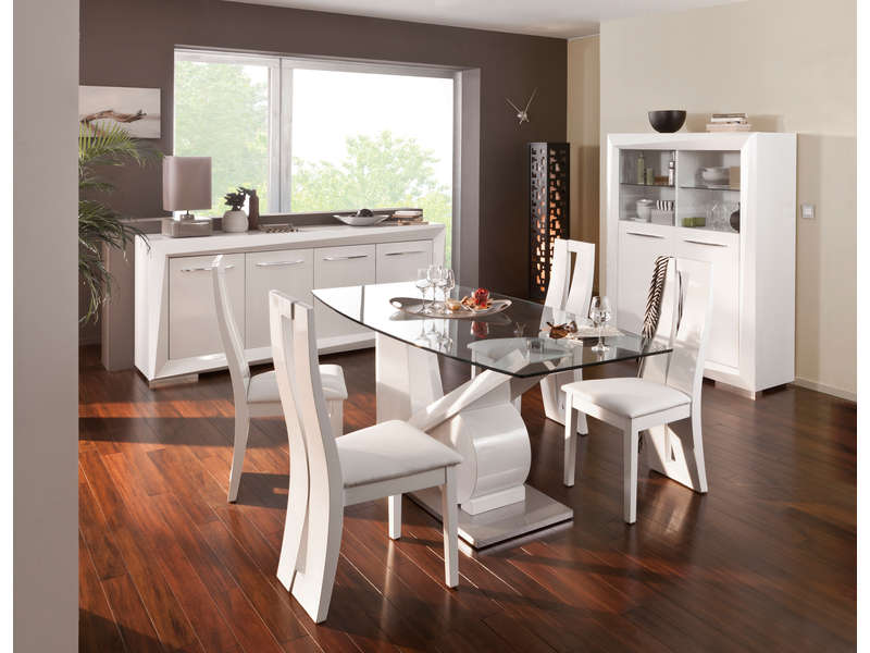 Table rectangulaire brook coloris blanc vente de table for Salle a manger conforama atlanta