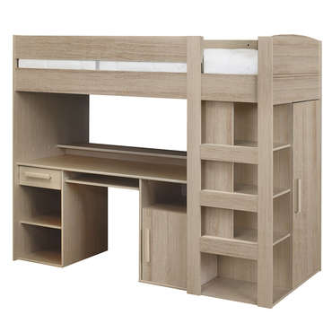 lit mezzanine 90x200 cm montana ch ne gris vente de lit enfant conforama. Black Bedroom Furniture Sets. Home Design Ideas