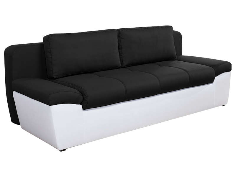 Canap convertible 3 places en tissu uno coloris blanc for Canape droit convertible 2 places