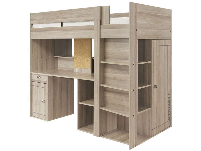 lit surelev combin largo coloris ch ne gris vente de lit enfant conforama. Black Bedroom Furniture Sets. Home Design Ideas