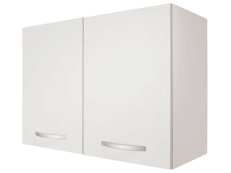 Meuble haut 80 cm 2 portes spoon coloris blanc vente de for Meuble 2 porte conforama