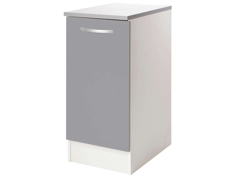 Meuble bas cm porte spoon color coloris gris vente de for Meuble a bas prix montreal
